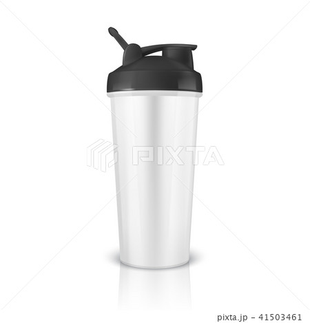 Vector realistic 3d white empty glossy metal or plastic shaker for sports nutrition closeup isolated 41503461