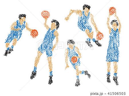 クレヨンで描かれたバスケットボール選手 41506503