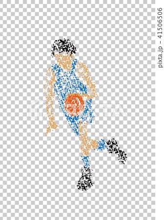 クレヨンで描かれたバスケットボール選手 41506506