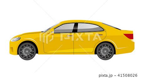 黄色の自動車のイラスト|セダンのイラスト|横向きの自動車|Illustration of car 41508026