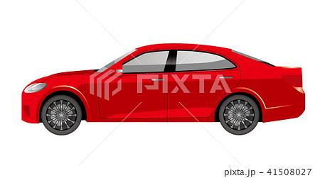 赤色の自動車のイラスト|セダンのイラスト|横向きの自動車|Illustration of car 41508027