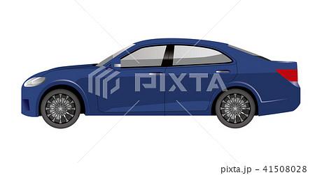 青色の自動車のイラスト|セダンのイラスト|横向きの自動車|Illustration of car 41508028