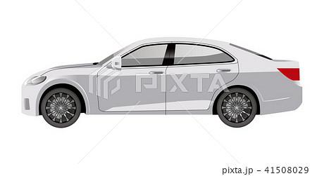 白色の自動車のイラスト|セダンのイラスト|横向きの自動車|Illustration of car 41508029
