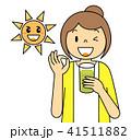 女性 OKポーズ スムージー 野菜 果物 太陽 バリエーション 青汁 ミックスベジタブル 緑 41511882