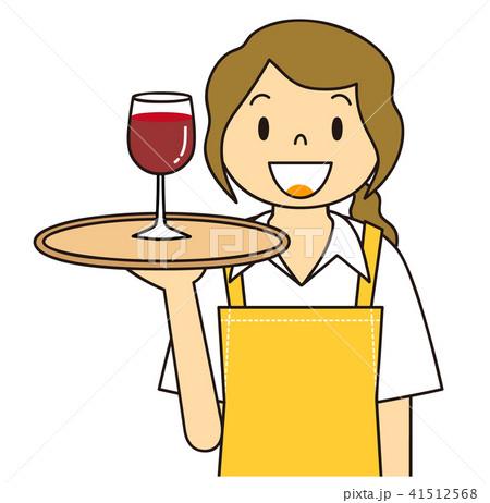 女性 ウエイトレス グラスワインを運ぶ 41512568