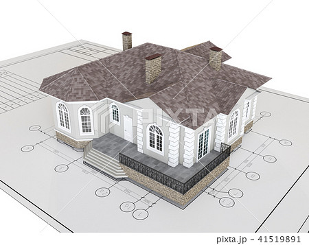 Classic house on drawing isolated. Building, architecture exterior. 41519891