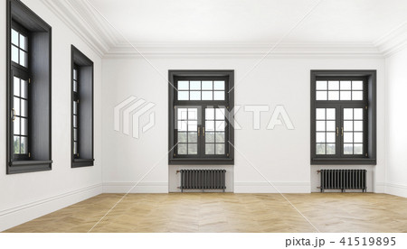 Classic scandinavian white empty interior with windows, parquet and heating batteries. Big room. 41519895