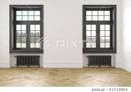 Classic scandinavian white empty interior with windows, parquet and heating batteries. 41519904