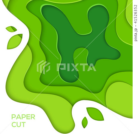 Grass green abstract layout - vector paper cut illustration 41526352