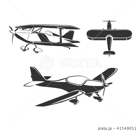 vector elements for airplane emblems labels and badgesのイラスト