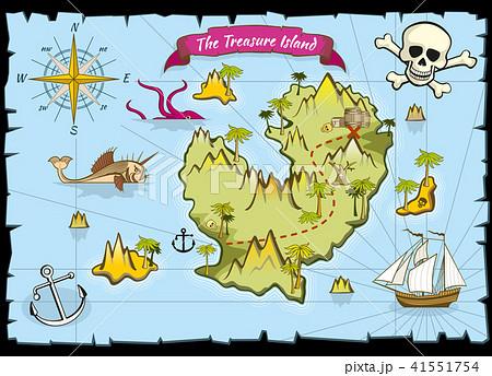 Vector pirate treasure color map 41551754