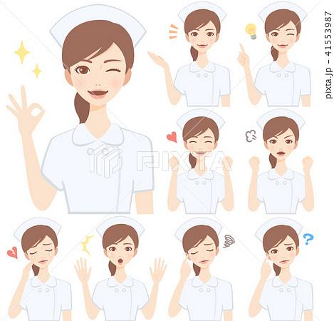 若い看護師 白衣 顔 表情 かわいい フラット イラスト セット 41553987