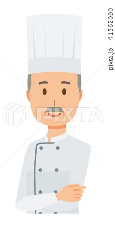 コックコートを着用した年配の料理人が腕組みして立っているのイラスト