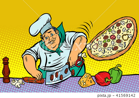 Chef cooking pizza 41569142