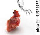 Human heart 3d model with a robot hand 3d rendering 41573438