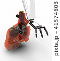 Human heart 3d model with a robot hand 3d rendering 41574803