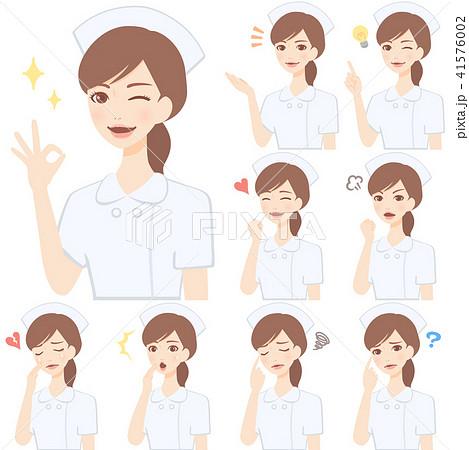 若い看護師 白衣 顔 表情 かわいい フラット イラスト セット 41576002