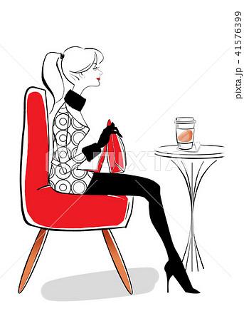 カフェでお洒落に 赤いソファのイラスト素材 41576399 Pixta