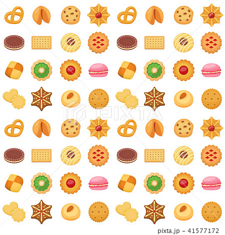 Different cookie cakes seamless pattern background sweet food tasty snack biscuit sweet dessert 41577172