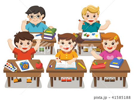 Illustration of Happy students studying. 41585188