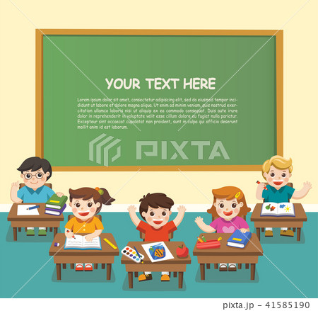 Back to School. Happy students studying in class. 41585190