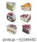 Colorful sweet cakes slices pieces set. 41586482