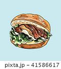 ハンバーガー バーガー サンドイッチのイラスト 41586617