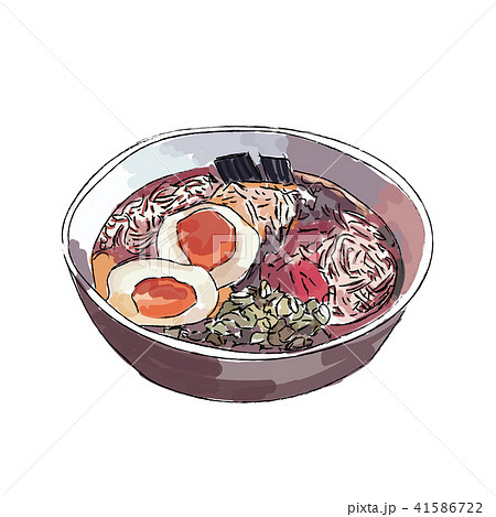 ramen bowl noodles fried egg and spring onion. 41586722