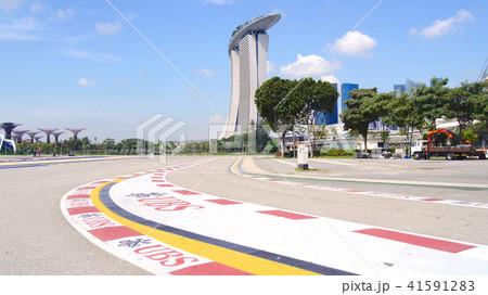 SINGAPORE - APR 2nd 2015: Formula One Racing track at Marina Bay Street Circuit. The symbol of 41591283