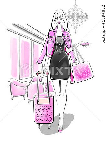 海外旅行 ピンクのコーデ 41594802