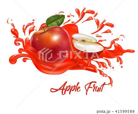 Red apples on splash water , juices,fresh ,vector  41599589