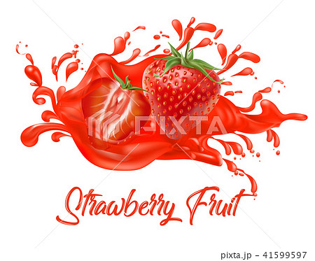 Strawberry on splash water , juices,fresh ,vector  41599597