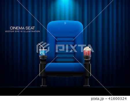 Cinema seat.Theater seat on curtain with spotlight 41600324
