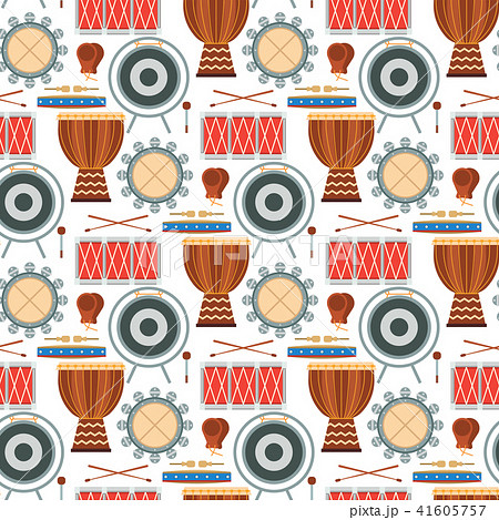 Musical drum wood rhythm music instrument seamless pattern background percussion musician 41605757