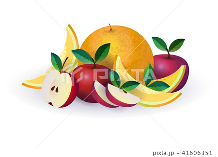 melon apple fruit on white background, healthy lifestyle or diet concept, logo for fresh fruits 41606351