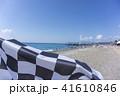 Beautiful sea beach. Finishing flag on the beach 41610846