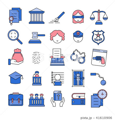 Justice,Court,Law Line Icon set 41610906