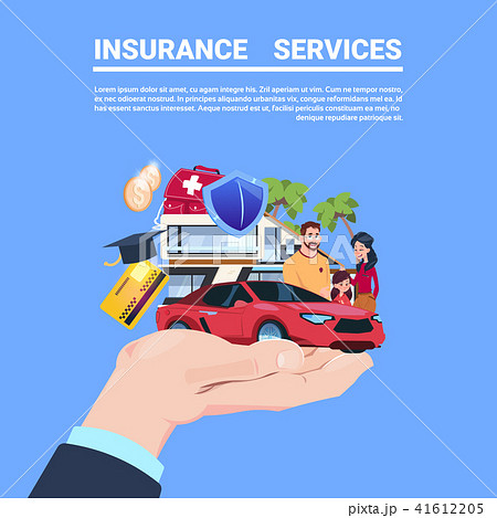 insurance service protection concept hand car life home medical financial policy contract on blue 41612205