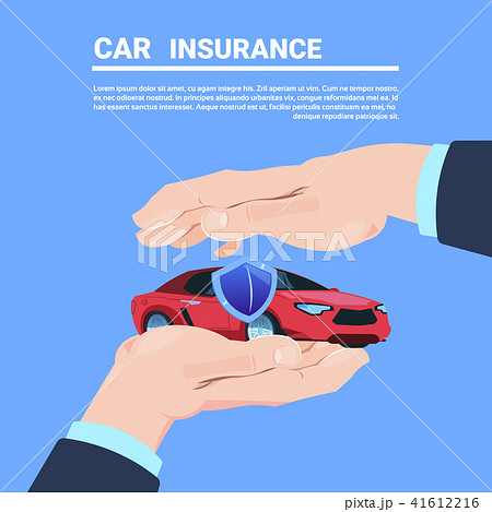 insurance service hand protective gesture car cartoon on blue background flat copy space vector 41612216