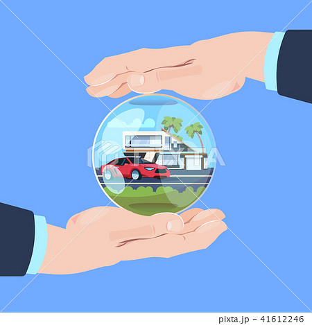 insurance service hand protective gesture bubble car house on blue background flat 41612246