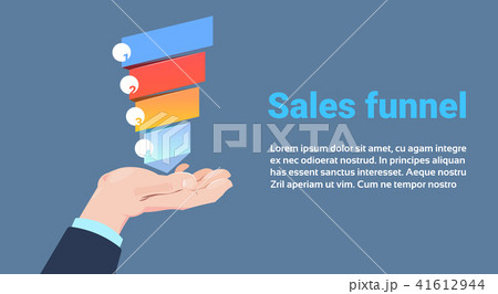 hand hold sales funnel with steps stages business infographic
