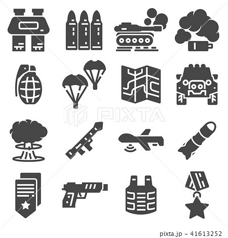 military and war icons army icons universal setのイラスト素材