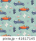 Vector seamless pattern with dogs on cars in desert. 41617145