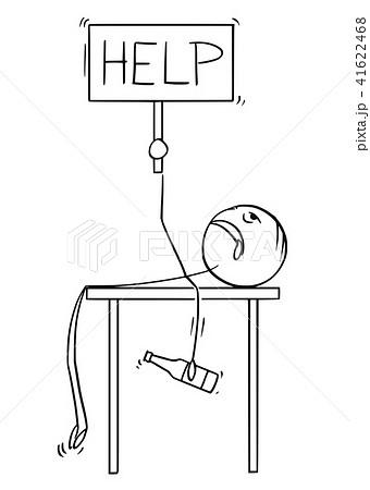 cartoon of lying drunken man with beer bottle in help sign in his