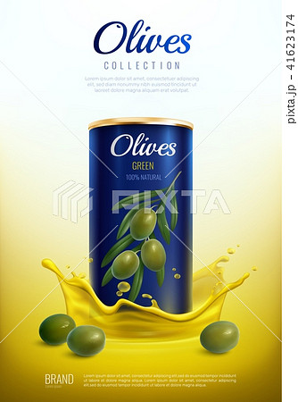 Realistic Canned Olives Advertising Composition 41623174