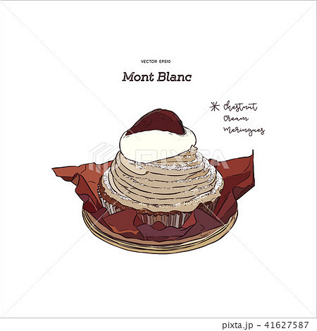 French traditional cake Mont Blanc , vector. 41627587