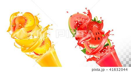 Fruit in juice splashes. Strawberry, guava,  41632044