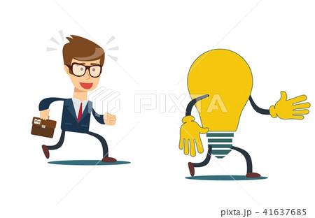 Cartoon business man are running after a light bulb. Flat design, vector illustration. 41637685