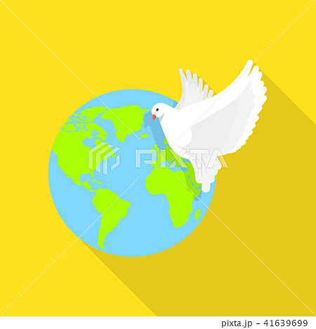 Global peace pigeon icon, flat style 41639699