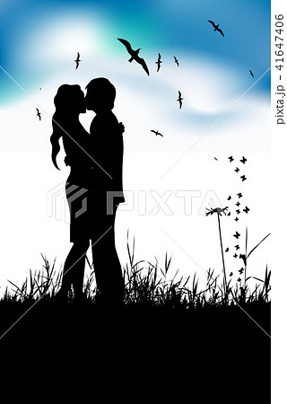 Couple kissing on summer meadow, black silhouette 41647406